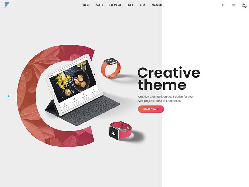 A header slider design for a new slick WP theme by Marjan Tosic on