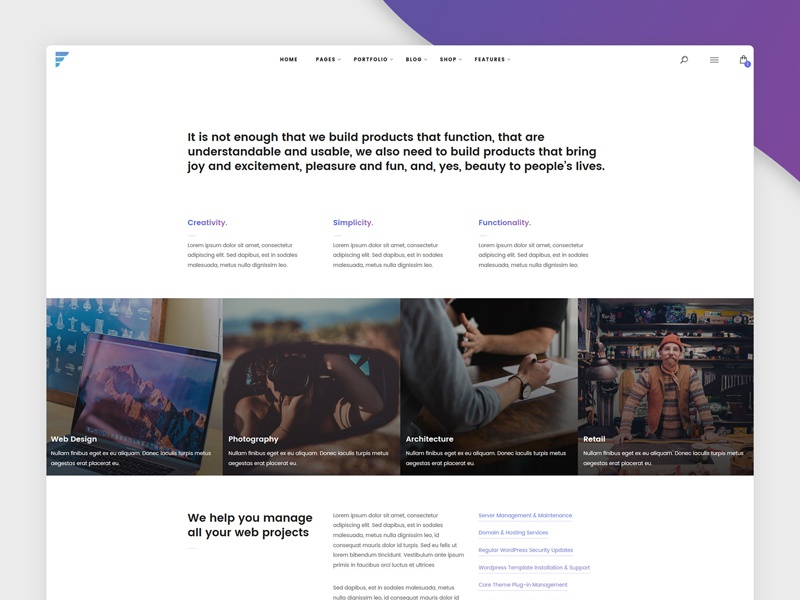 Simple Services Web Page page image color white round shadow gradient services design web