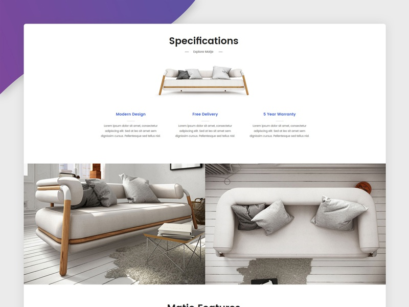 Single product shop page sofa chair product shop round white color shadow gradient design web furniture