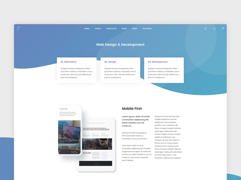 Service Page for a Single Service white clean color wordpress shadow design web ux ui gradient