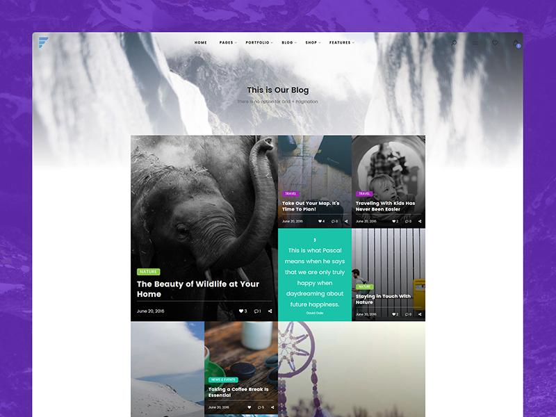 Blog Grid Element for Framed WP Theme wordpress theme element color gradient ux ui design web image grid blog