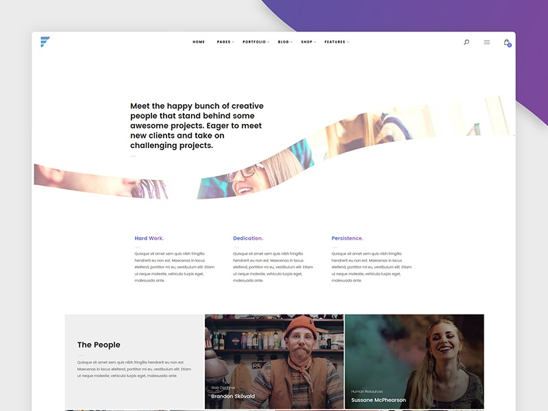 Team Member page for Framed WP Theme creative typography white shadow gradient ux ui people our team design web