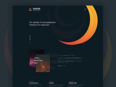 A website design for a design & development agency website agency hero slider portfolio testimonial illustraion team shadows orange dark gradient ux ui web design