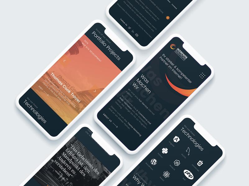 Responsive design for a Dutch design and development agency illustrator x iphone responsive mobile app dark ui ux ui web design