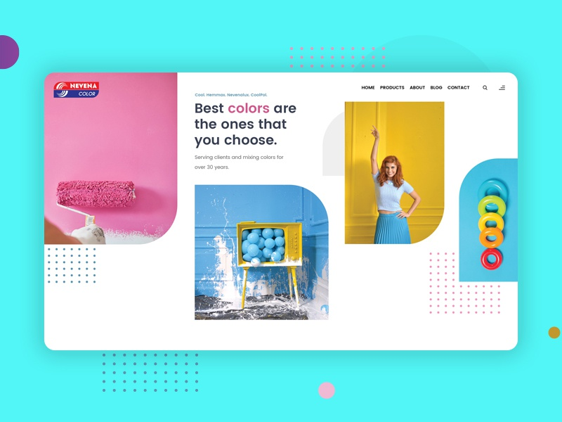 A creative home page design for a paint company product cans logo shadow industry vivid playful paint illustration creative color gradient ux ui web design