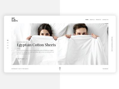 A slider / header design for a sheet & bed company