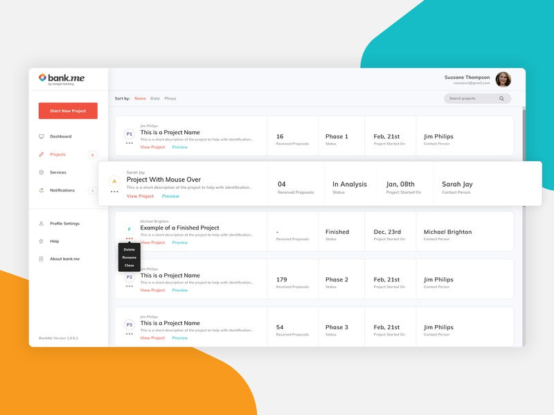 A dashboard / projects overview for an investment App cards uidesign uxdesign invest banking projects dashboad bank ux ui web design