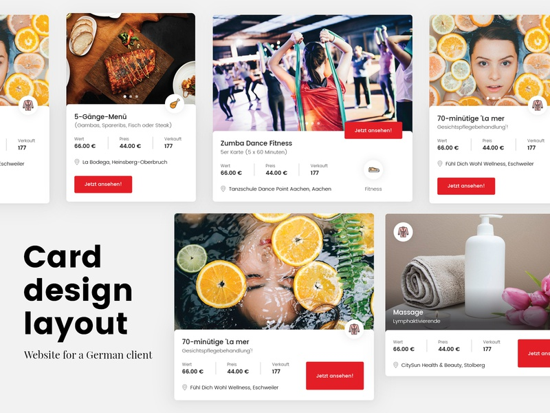 A website with listing / directory for a German company coupon archive blog listing products card design icons shadow directory list cards ux ui web design