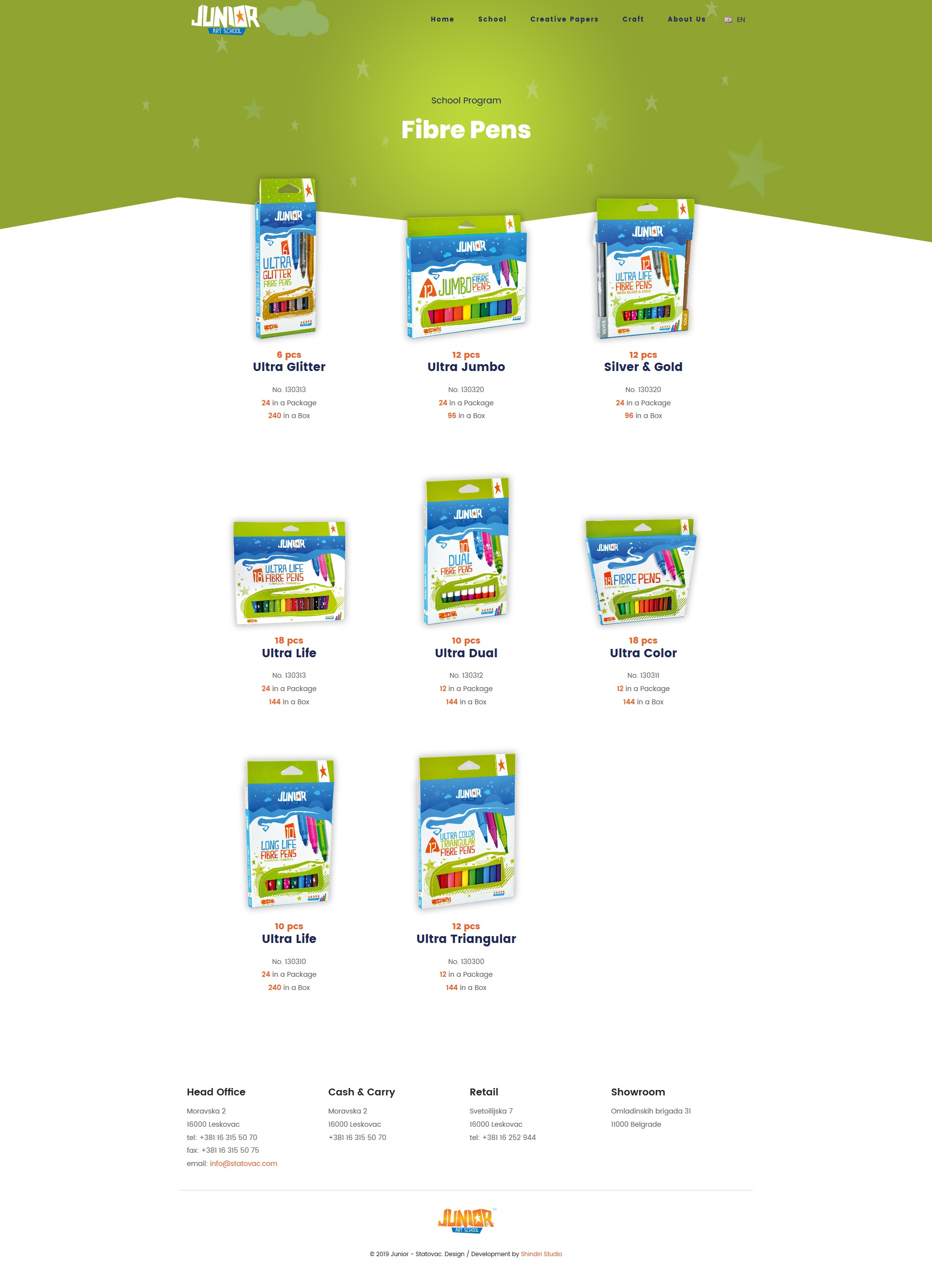 Junior product page