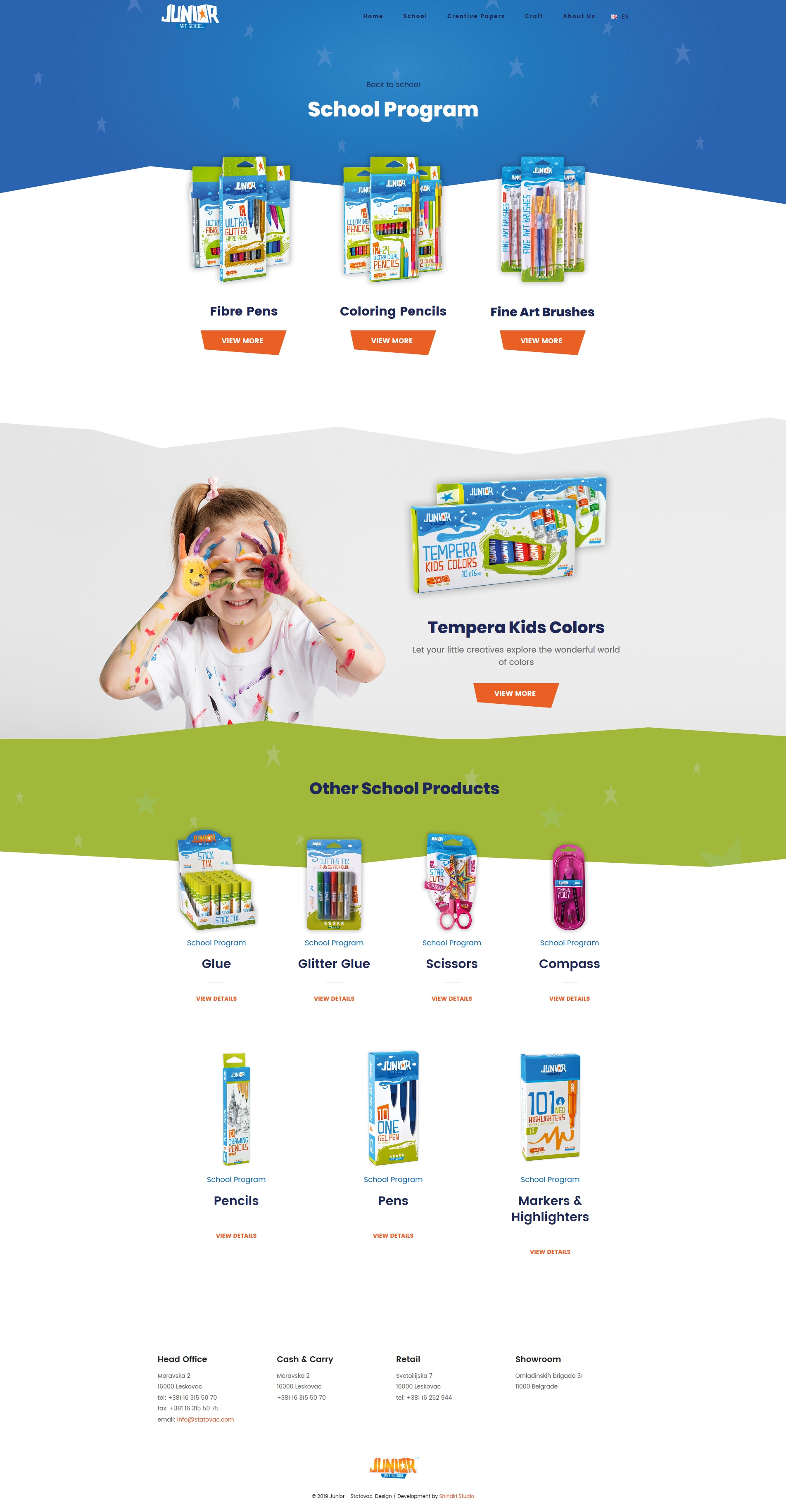 Junior category page