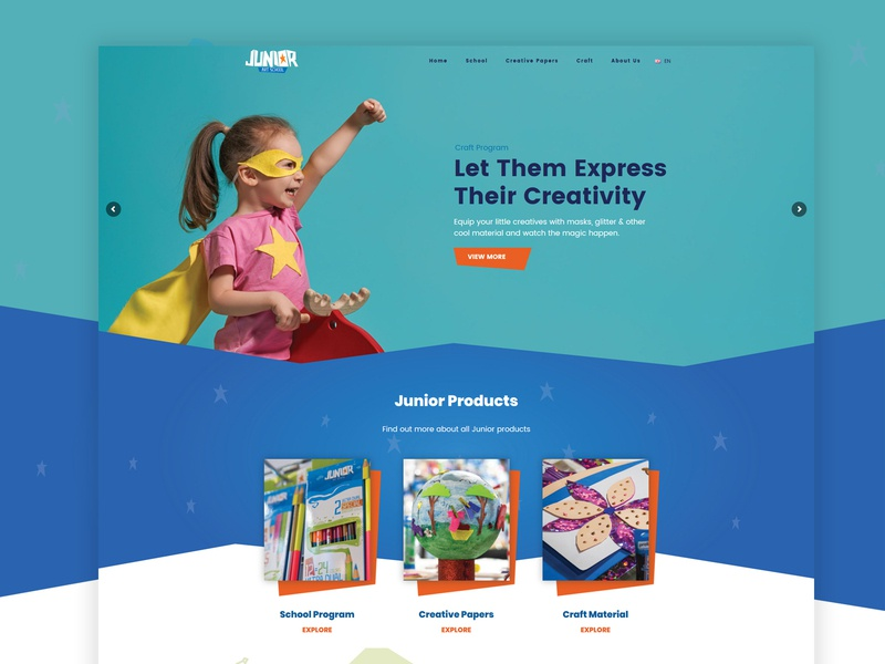 A website for a company that sells school and office supplies playful color gradient ux ui web office pens backpacks teenagers children shapes colors tempera craft art supplies teens school kids