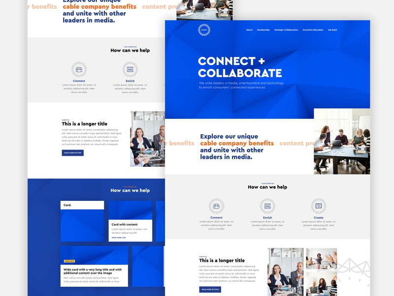 A homepage design for an IT and entertainment company it cable television creative media entertainment technology blue clean ux ui web