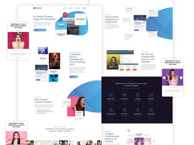 Landing page redesign for Content Timeline WordPress plugin