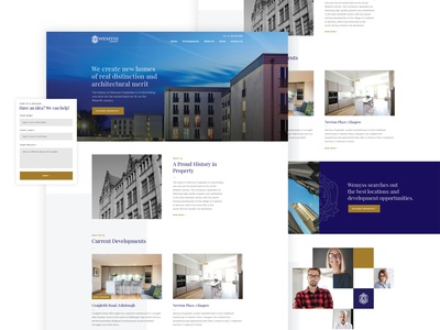 Wemyss - Homepage design for an investment company luxury real estate realestate blog newsletter slider header hero contact corporate business blue team home web investment