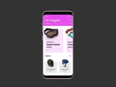 Ski & Snowboard Goggles App Concept with InVision Studio interface mobile board snow goggles studio invision phone ux ui video animation ski app