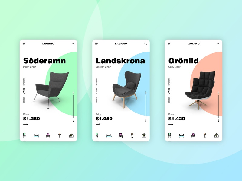 Furniture App Concept gradient product page product shopping app sofa screen categories pastel chair furniture mobile uxdesign uidesign