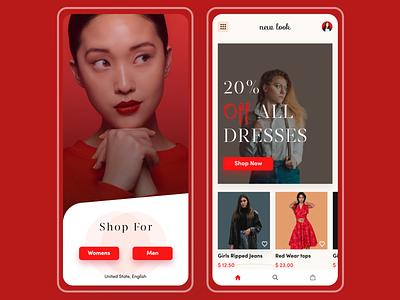 New look E-commerce App Redesign clothing brand fashion brand uxdesign uidesign trending trendy trend uidesing minimal dribbble best shot design app design