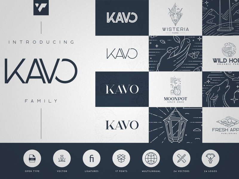 Kavo family - 17 fonts + 24 logos vector logo template serif bundle serif styled inline sans serif design creative brand logo font