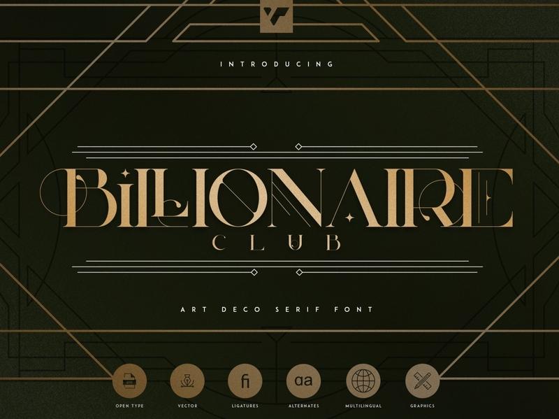 Billionaire Club - Art Deco Serif Font + Frames and lines vector branding serif lettering design bundle creative brand logo font