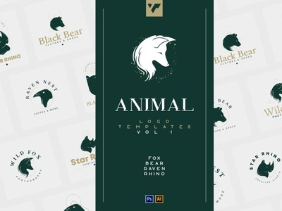 20 Animal Logo Templates for Photoshop & Illustrator - Fox, Bea lettering illustration typography creative design bundle template design template brand logo font