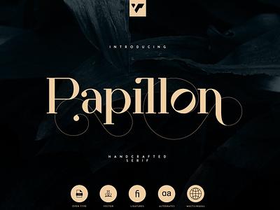 PAPILLON - HANDCRAFTED SERIF FONT minimal app illustration typeface lettering web ui ux branding vector serif creative brand logo font