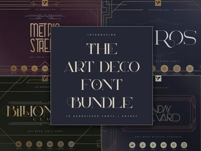 THE ART DECO FONT BUNDLE ui ux app branding vector lettering design logo creative bundle font art