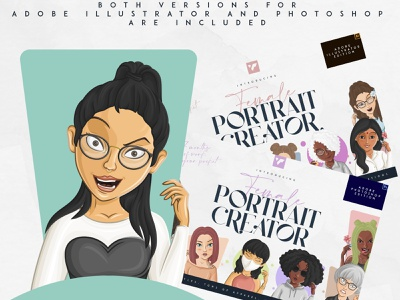 FEMALE PORTRAIT CREATOR - AI AND PS icon app illustration ui ux vector illustration art vector design brand creative creators