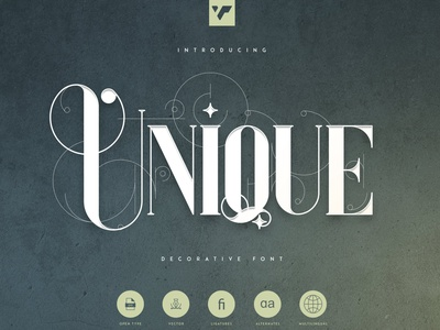 UNIQUE - DECORATIVE SERIF FONT app ux icon serif typeface vector lettering brand font creative