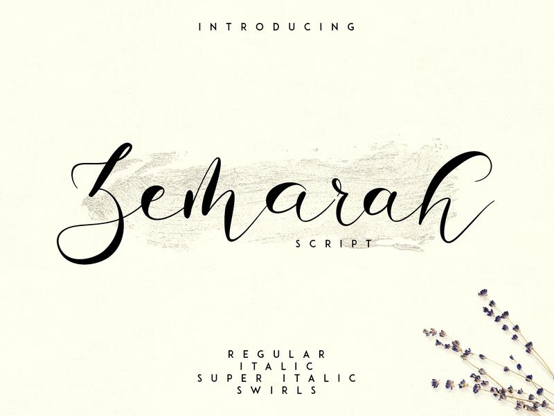 Zemarah script - 3 styles + Extras clean regular italic elegant lettering creative typography logo typeface font script