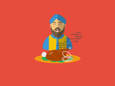Happy Faces Part 3 : Fooood!  sikh chicken food vector illustration sketch happy face