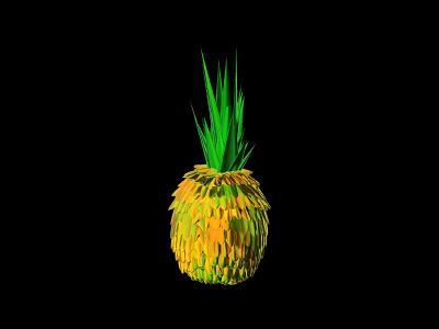 Interdimensional Pineapple fruit graphic design 3d