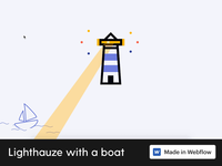 Lighthauze with a boat 💡🏠 ⛵ madeinwebflow css animation css html5 animation css3 webflow