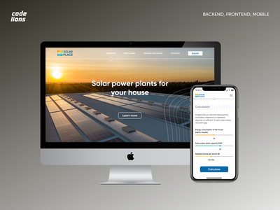 Application for calculating the cost of solar panels web ux design ui adobe illustrator figma