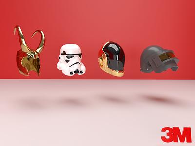 3M Branding. minimal superheroes helmets polish 3m car care 3m car care cinema4d cyclesrender blender 3d 3d branding design