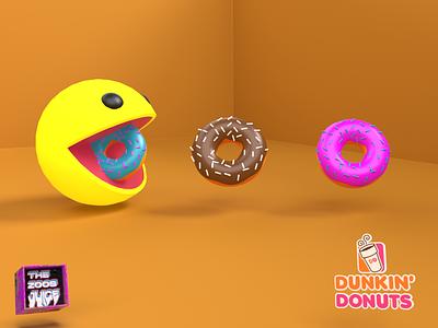 PACMAN - The Dunkin' Donuts Fanatic pacman loves dunkin donuts dunkin donuts branding concept branding design poster cinema4d 3d lightroom photoshop pacman design free dribbble dribbble best shot cyclesrender behance blender 3d branding