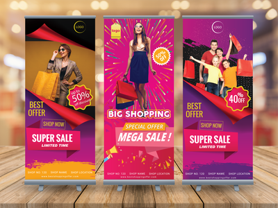 SHOPPING ROLLUP BANNER shopping banner mockup psd invitation card typography clothing design illustration ui vector flyer design banner branding logo web banner banner ads rollup banner