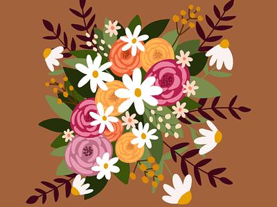 Fall Bouquet flat illustration floral design florals fall colors fall procreate art procreate flower illustration flowers