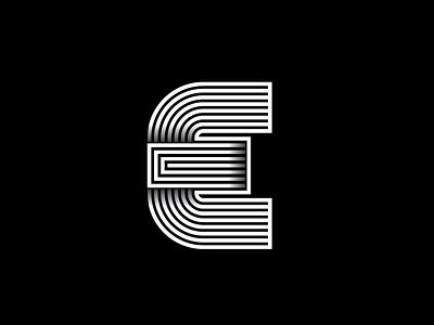 E Monogram typographic type symbol outlines monogram mark logo letters identity icon font brand