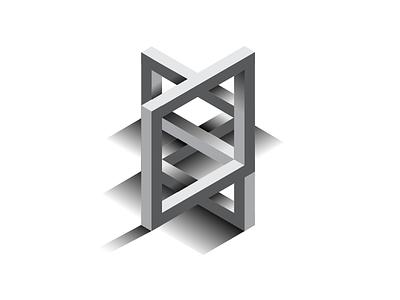 Isometric Confusion illusion symbol shape shadows mark logo impossible identity geometry geometric brand 3d