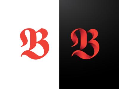 3D Letter B Monogram type symbol shape monogram mark logo shadows identity brand 3d