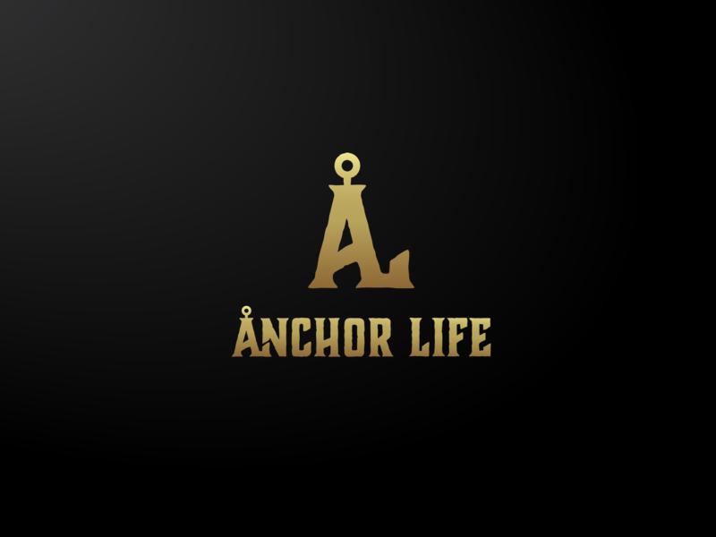 Anchor Life. Logo Design @2019 monogram mark typography minimal black gold brand product icon symbol logo