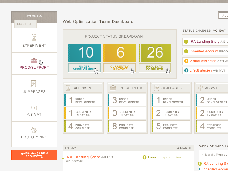 Team Management Interface project management dashboard