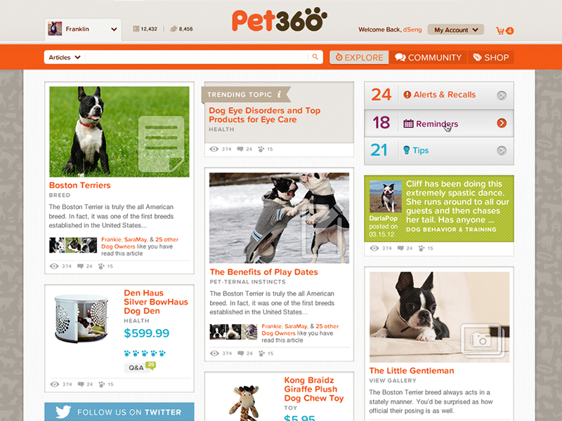 Explore Pet Community interactive experience ux web design community ecommerce
