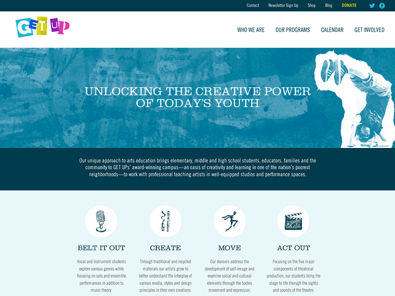 Get Up interactive nonprofit wide layout arts icons web ux