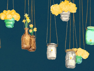 Hanging Mason Jars blue floral painted mason jar illustration