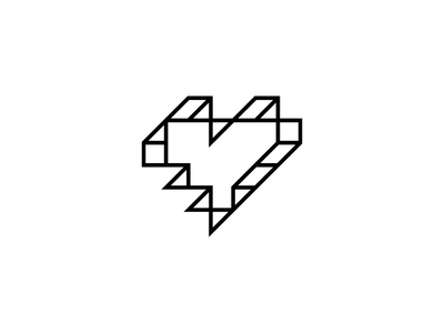 Travie's Heart identity mark symbol branding illustration love 3d cube pixel logo music heart