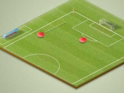 Going for it! football soccer grass goal shadow pattern illustration flag light