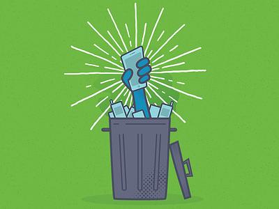 Header Illustration phones mobile trash