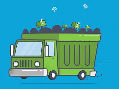 Trash Mailer Illustration mascot illustration trash truck