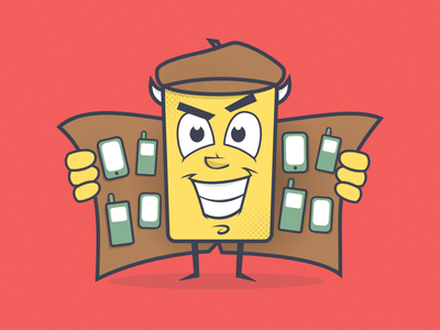 Trash Phone Illustration business shady mascot phone